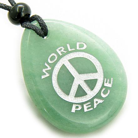 Amulet Lucky World Peace Green Aventurine Wish Stone Pendant Necklace