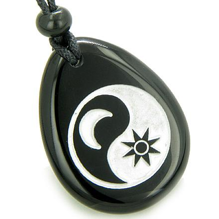 Positive Energy Forces of Nature Sun and Moon Ying Yang Amulet Black Onyx Pendant Necklace