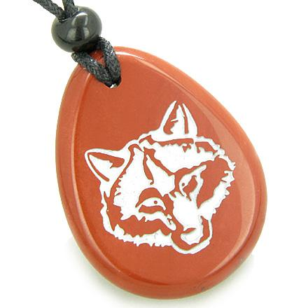 Lucky and Protection Wolf Head Amulet Red Jasper Wish Stone Pendant Necklace