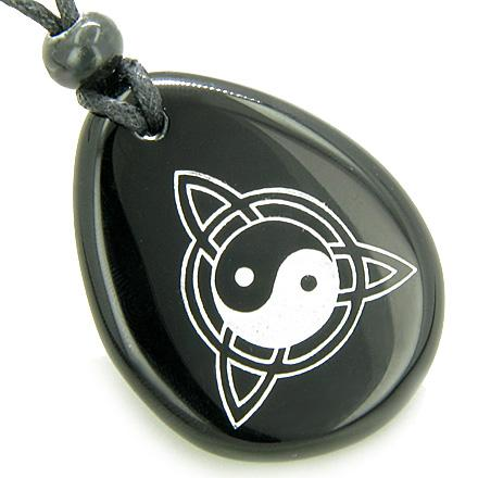 Magic Ying Yang and Celtic Triquetra Knot Amulet Black Onyx Lucky Wish Stone Pendant Necklace