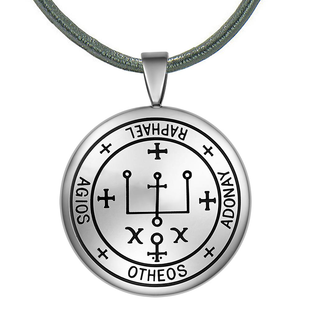 Guardian Archangel Raphael Sigil Amulet Keep Me Safe and Positive Inscription Prayer Leather Necklace
