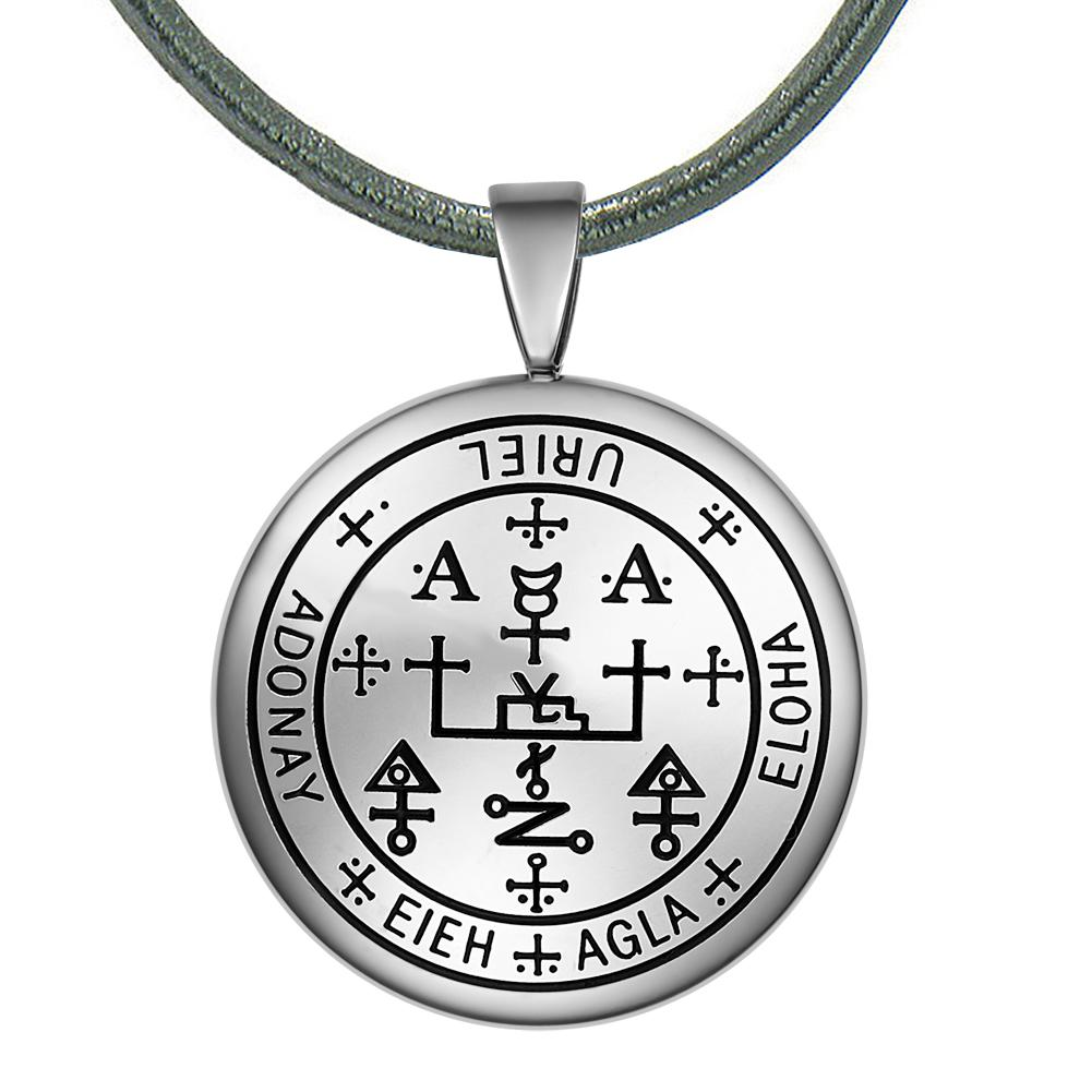 Guardian Archangel Uriel Sigil Amulet Keep Me Safe and Positive Inscription Prayer Leather Necklace