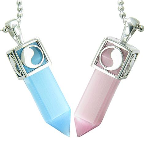 Positive Energy Yin Yang Love Couple Magic Amulets Crystal Points Blue Baby Pink Cats Eye Necklaces