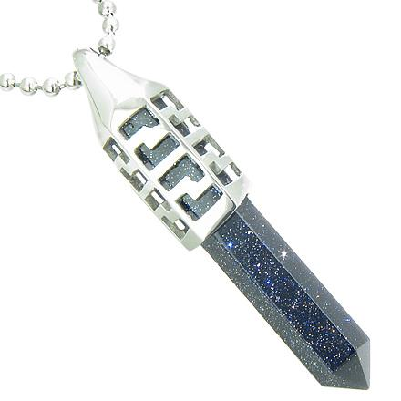Positive Energy Magic Powers Secret Amulet Crystal Point Lucky Charm Gold Stone Pendant Necklace