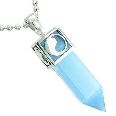 Positive Energy Magic Yin Yang Amulet Crystal Point Lucky Charm Sky Blue Cats Eye Pendant Necklace