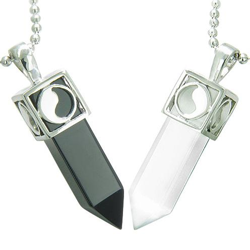 Positive Energy Yin Yang Love Couple Magic Amulets Crystal Points Onyx White Cats Eye Necklaces