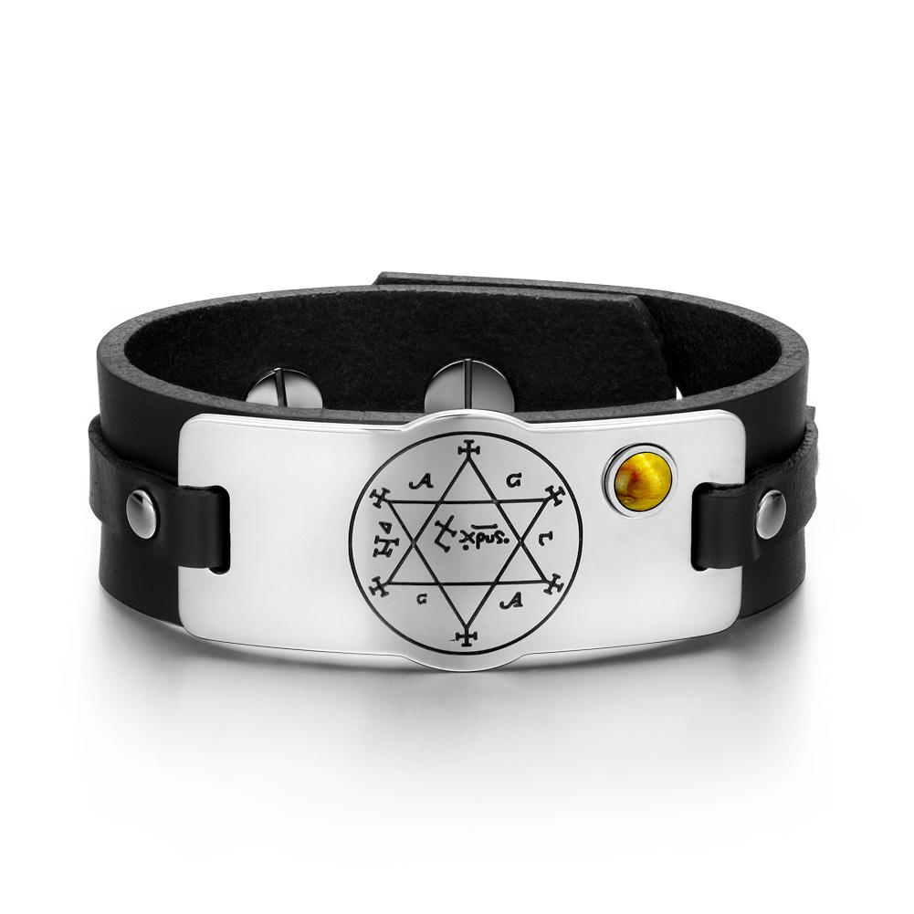 King of Solomon Circle of Pentacle Hexagram Amulet Tiger Eye Gemstone Black Leather Bracelet