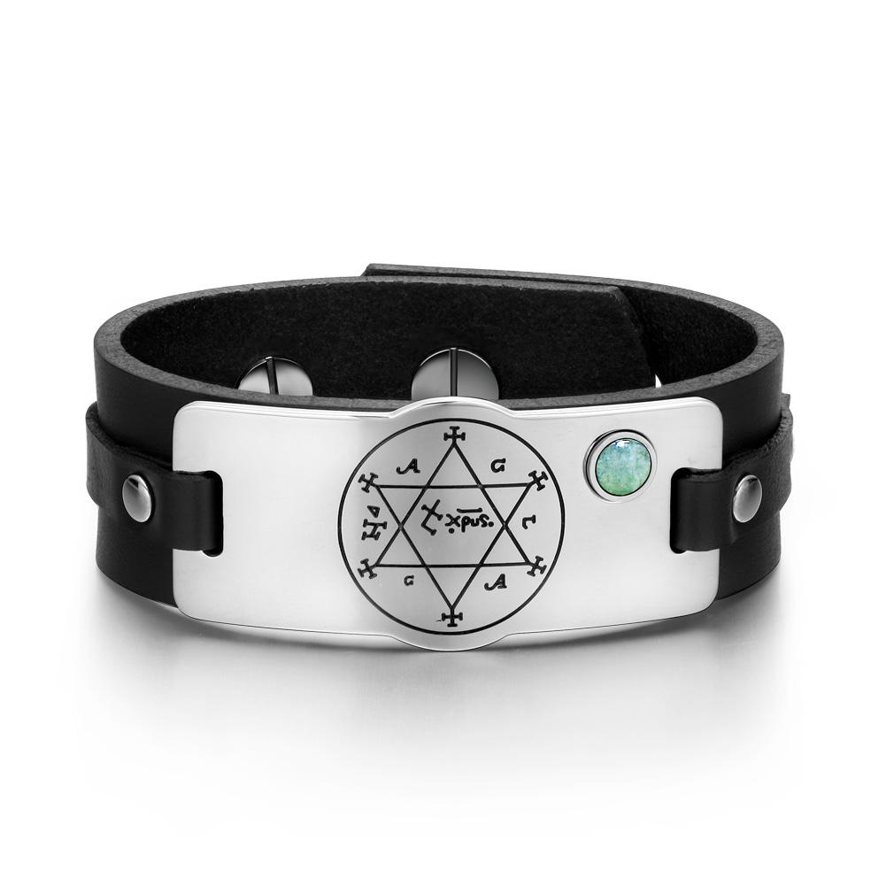 King of Solomon Circle of Pentacle Hexagram Amulet Green Quartz Gem Black Leather Bracelet