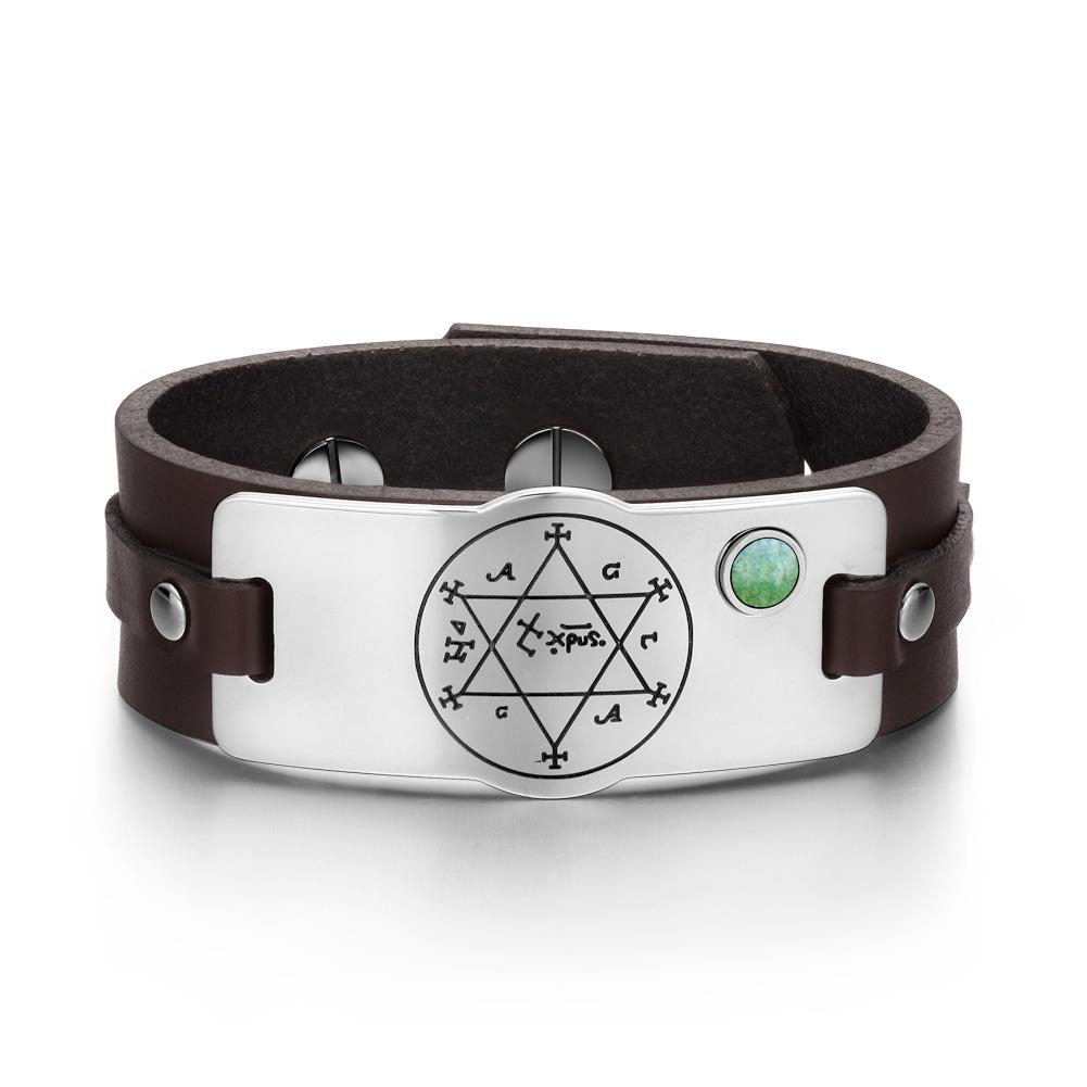 King of Solomon Circle of Pentacle Hexagram Amulet Green Quartz Gem Brown Leather Bracelet