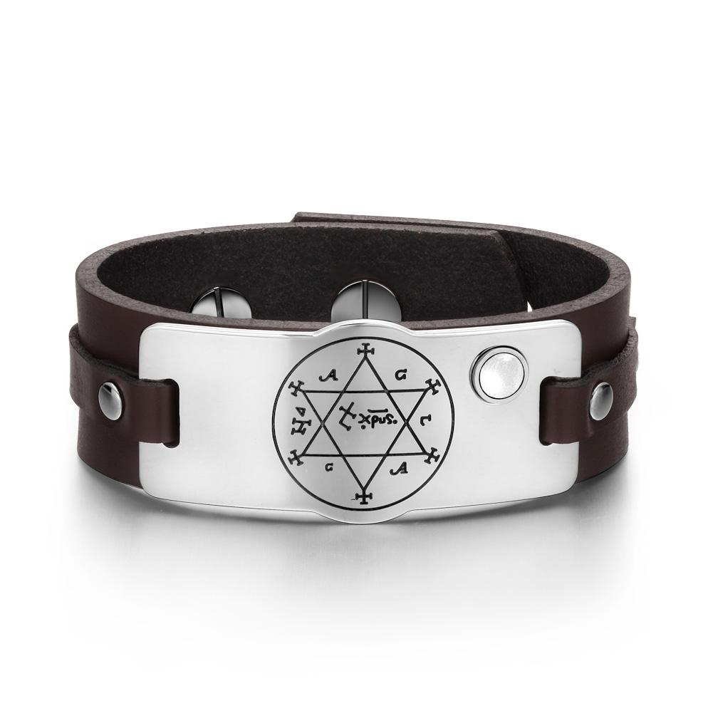 King Solomon Circle Pentacle Hexagram Amulet White Simulated Cats Eye Leather Bracelet