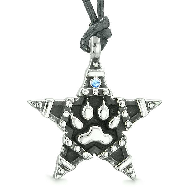 Wolf Paw Magic Super Star Pentacle Powers Amulet Sky Blue Austrian Crystal Pendant Necklace