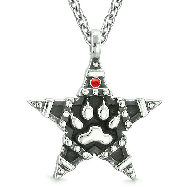 Wolf Paw and Magic Super Star Pentacle Powers Amulet Red Austrian Crystal Pendant 18 Inch Necklace