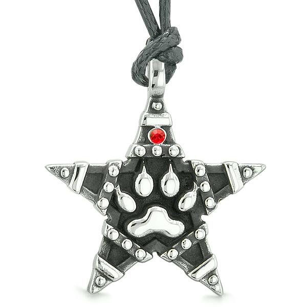Wolf Paw Magic Super Star Pentacle Powers Amulet Red Austrian Crystal Pendant Necklace