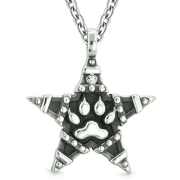 Wolf Paw Magic Super Star Pentacle Powers Amulet White Austrian Crystal Pendant Necklace