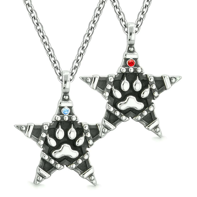 Wolf Paw Magic Super Star Pentacle Powers Love Couples or Best Friends Blue Red Crystals Necklaces