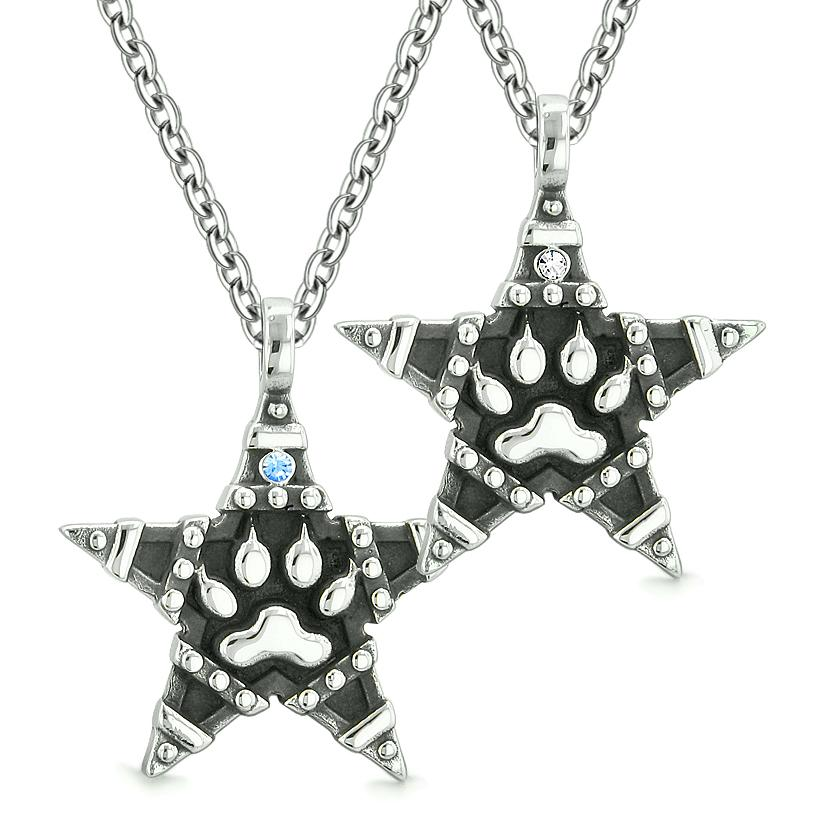 Wolf Paw Magic Super Star Pentacle Powers Love Couples Best Friends Blue White Crystals Necklaces