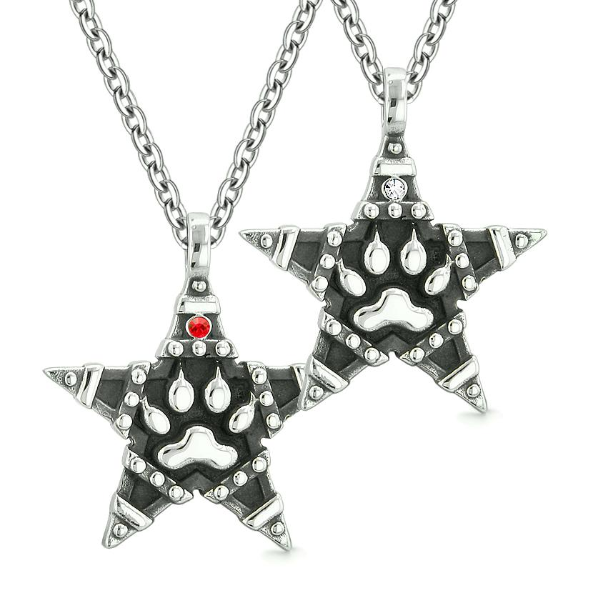 Wolf Paw Magic Super Star Pentacle Powers Love Couples or Best Friends Red White Crystals Necklaces
