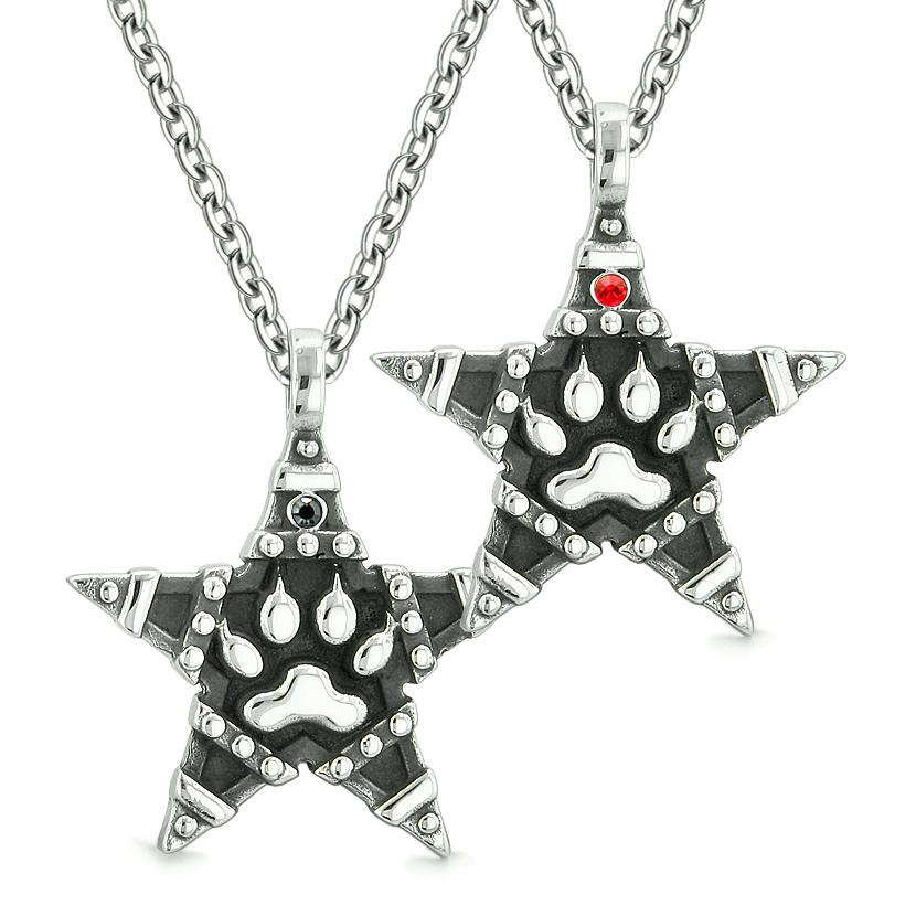 Wolf Paw Magic Super Star Pentacle Powers Love Couples or Best Friends Red Black Crystals Necklaces
