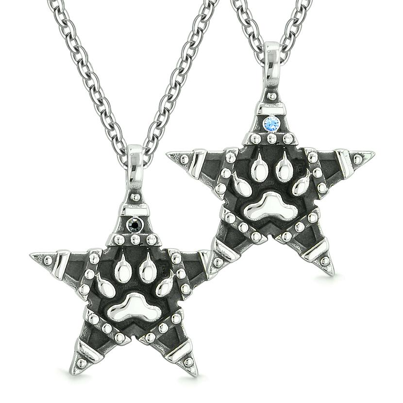 Wolf Paw Magic Super Star Pentacle Powers Love Couples Best Friends Blue Black Crystals Necklaces