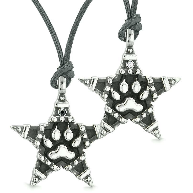 Wolf Paw Super Star Pentacle Powers Love Couples Best Friends White Black Crystals Necklaces