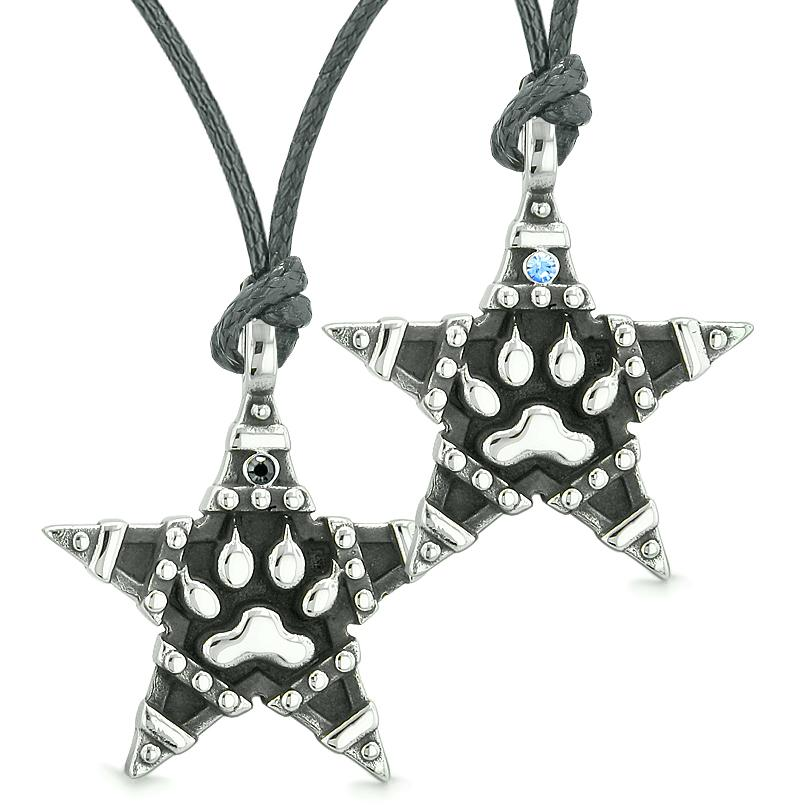 Wolf Paw Super Star Pentacle Powers Love Couples Best Friends Blue Black Crystals Necklaces