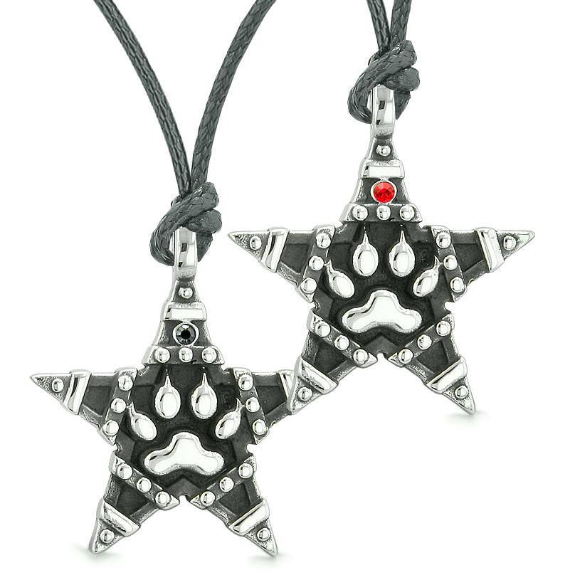 Wolf Paw Super Star Pentacle Powers Love Couples Best Friends Red Black Crystals Necklaces