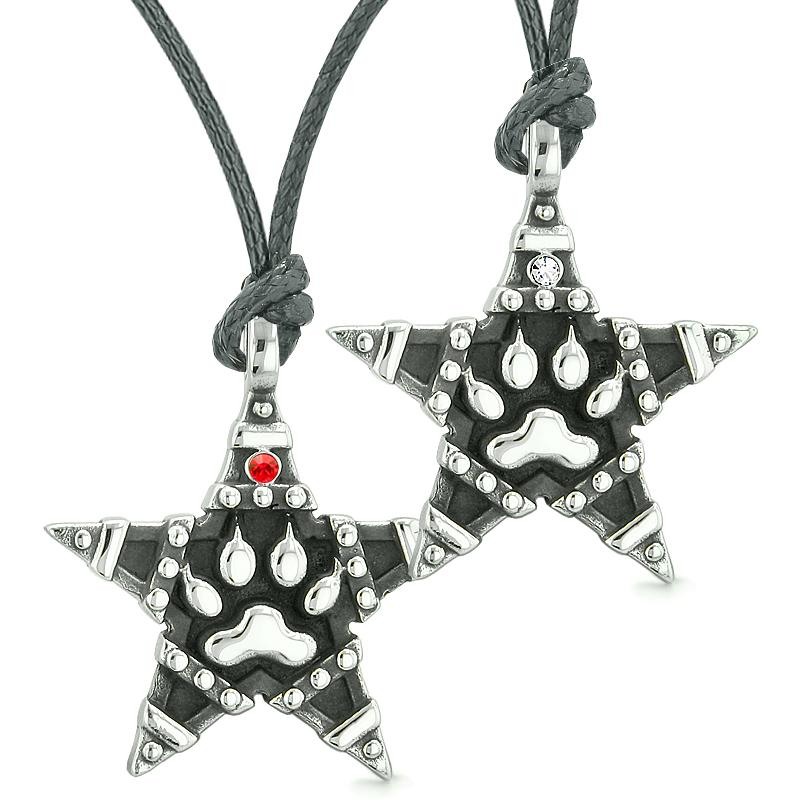 Wolf Paw Super Star Pentacle Powers Love Couples Best Friends Red White Crystals Necklaces