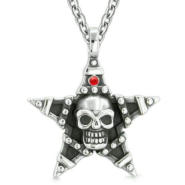 All Seeing Skull Magic Super Star Pentacle Powers Amulet Red Austrian Crystal Pendant Necklace