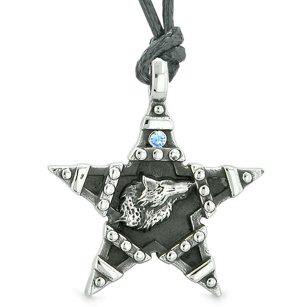 Howling Wolf Magic Super Star Pentacle Powers Amulet Blue Austrian Crystal Pendant Necklace