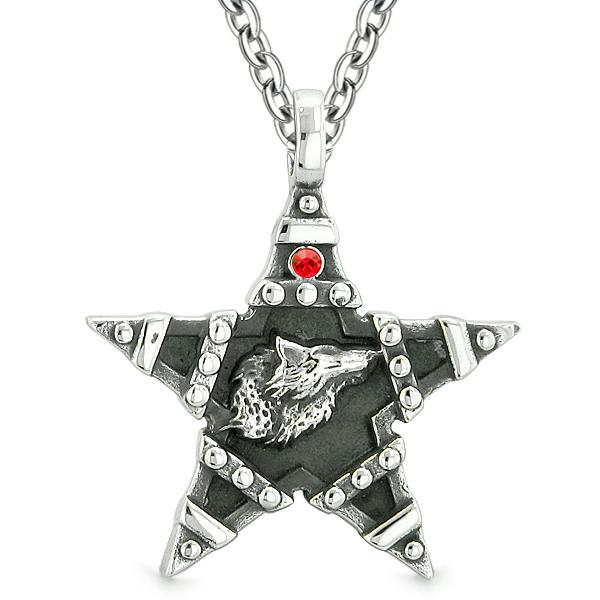 Howling Wolf Magic Super Star Pentacle Powers Amulet Red Austrian Crystal Pendant 18 Inch Necklace