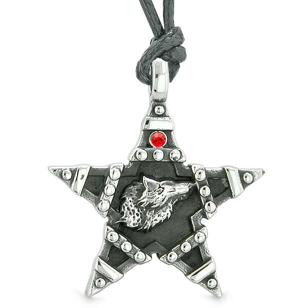 Howling Wolf Magic Super Star Pentacle Powers Amulet Red Austrian Crystal Pendant Necklace