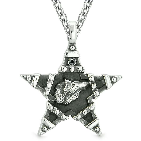 Howling Wolf Magic Super Star Pentacle Powers Amulet Black Austrian Crystal Pendant Necklace