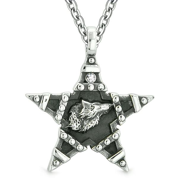 Howling Wolf Magic Super Star Pentacle Powers Amulet White Austrian Crystal Pendant Necklace