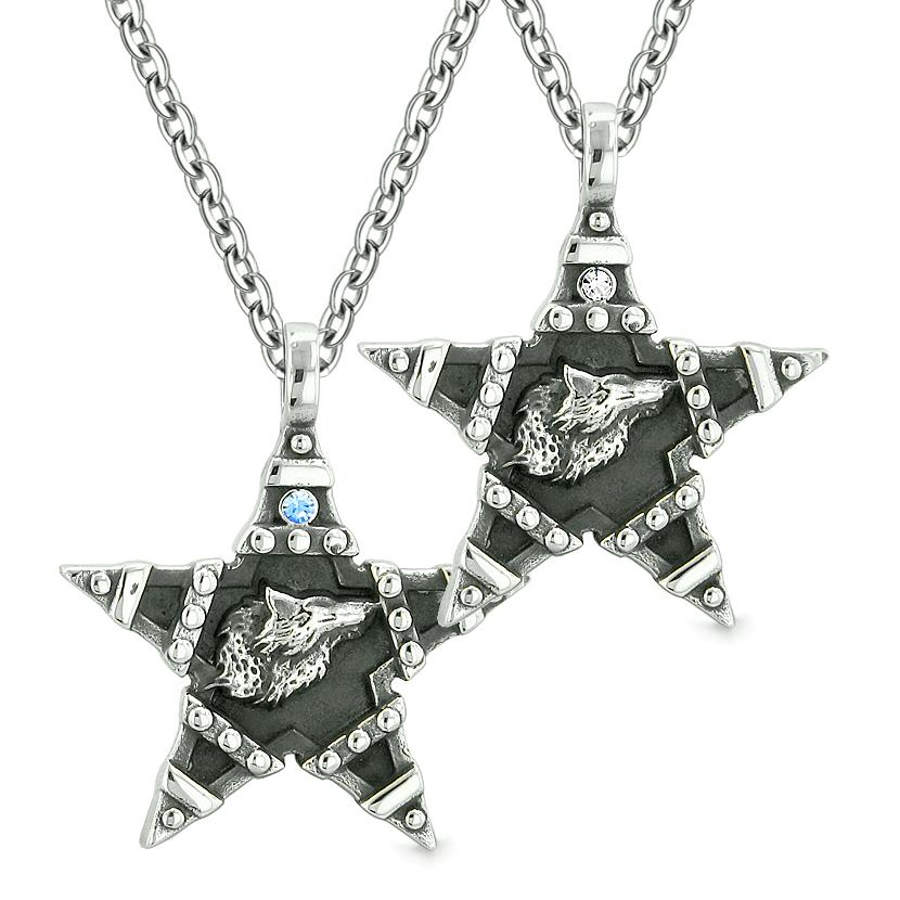 Howling Wolf Super Star Pentacle Love Couples Best Friends Blue White Crystals Amulet Necklaces