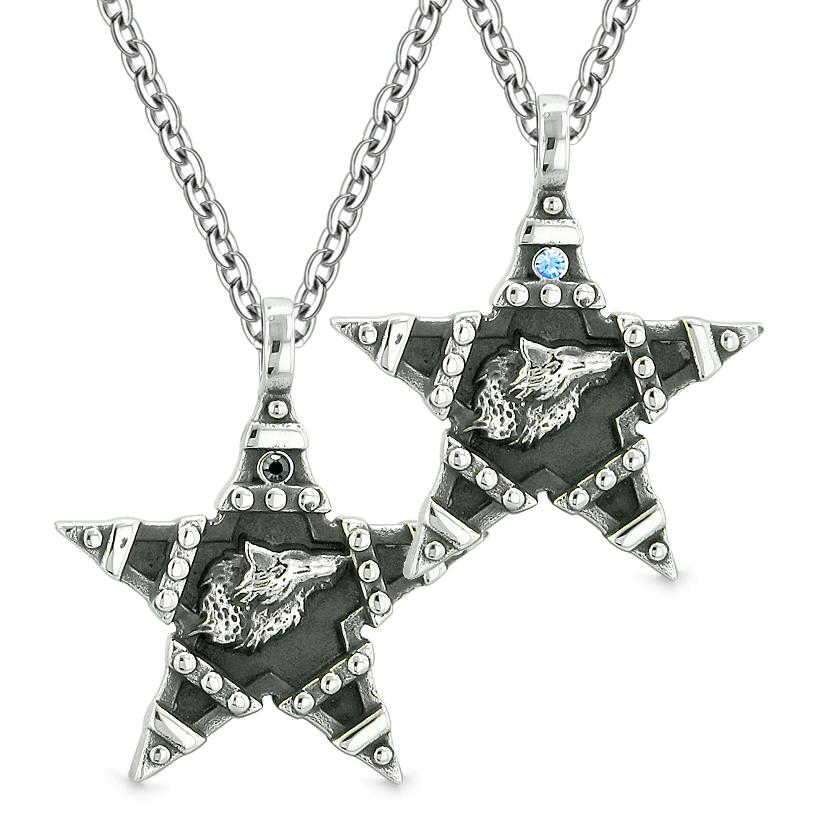 Howling Wolf Super Star Pentacle Love Couples Best Friends Blue Black Crystals Amulet Necklaces