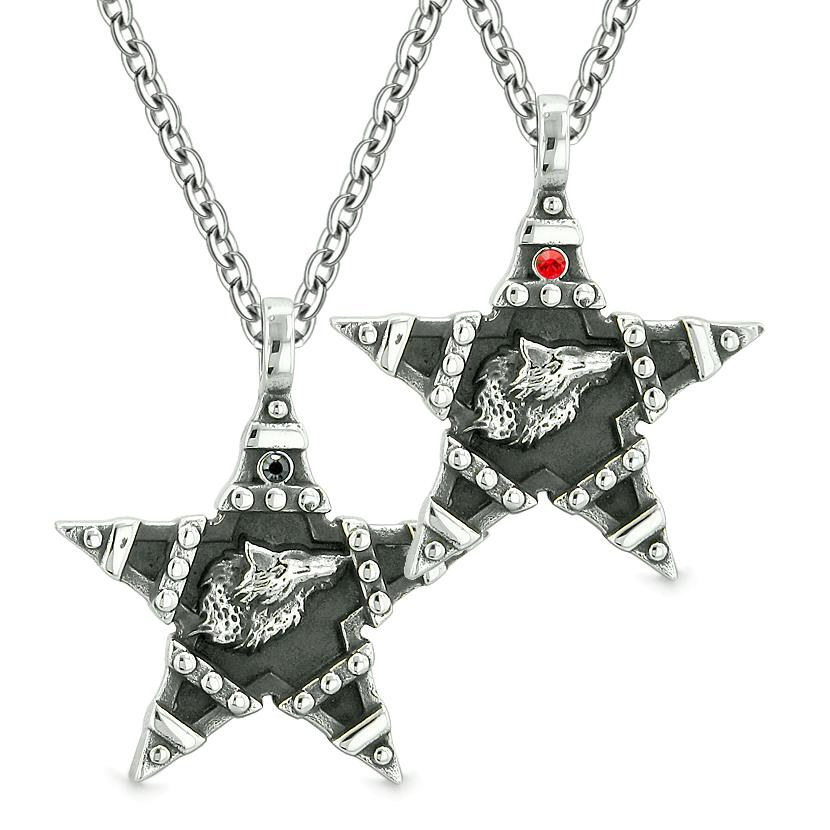 Howling Wolf Super Star Pentacle Love Couples Best Friends Black Red Crystals Amulet Necklaces
