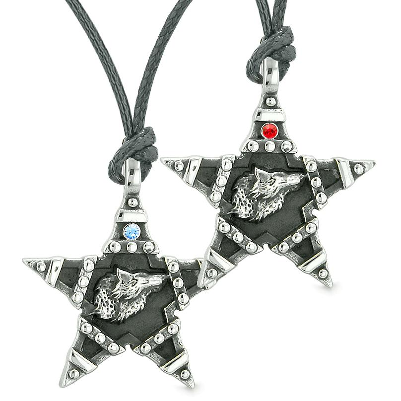 Howling Wolf Super Star Pentacle Love Couples Best Friends Blue Red Crystals Amulet Necklaces