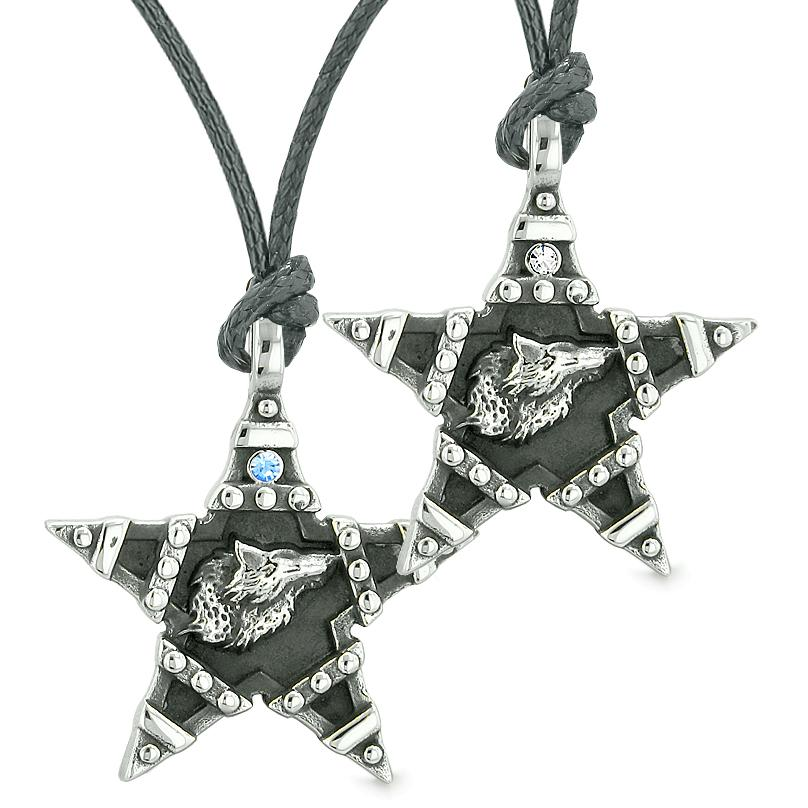 Howling Wolf Super Star Pentacle Love Couples Best Friends Blue White Crystal Amulet Necklaces