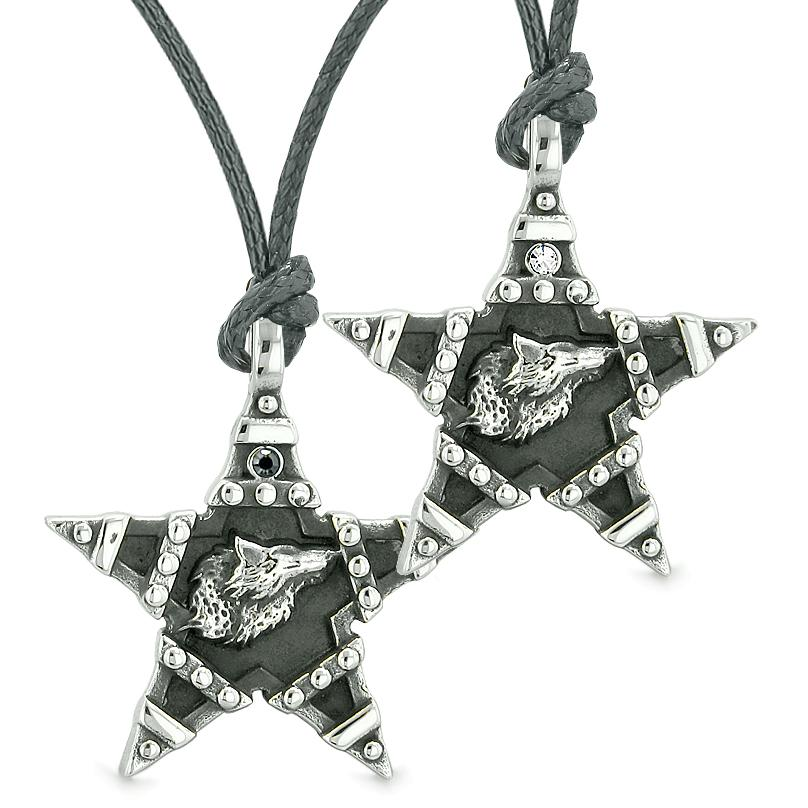 Howling Wolf Super Star Pentacle Love Couple Best Friends White Black Crystal Amulet Necklaces