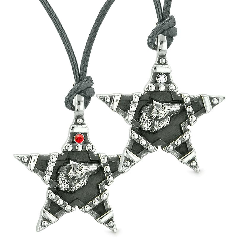 Howling Wolf Super Star Pentacle Love Couples Best Friends Red White Crystal Amulet Necklaces