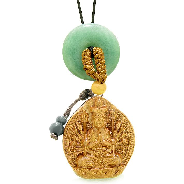Kwan Yin Quan Fortune Car Charm Home Decor Green Quartz Lucky Coin Donut Protection Powers Amulet
