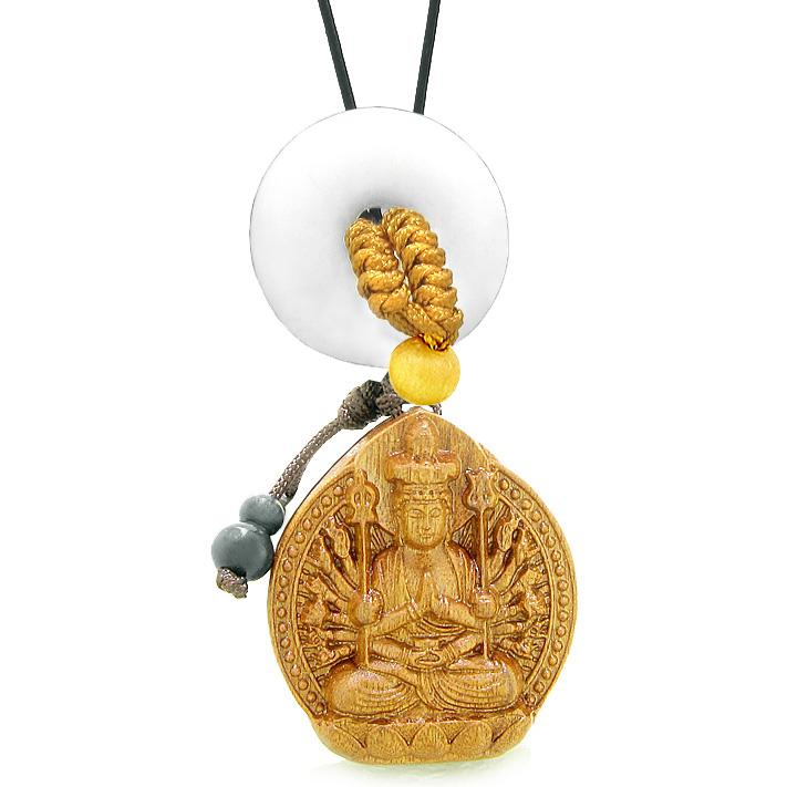 Kwan Yin Quan Fortune Car Charm Home Decor White Quartz Lucky Coin Donut Protection Powers Amulet