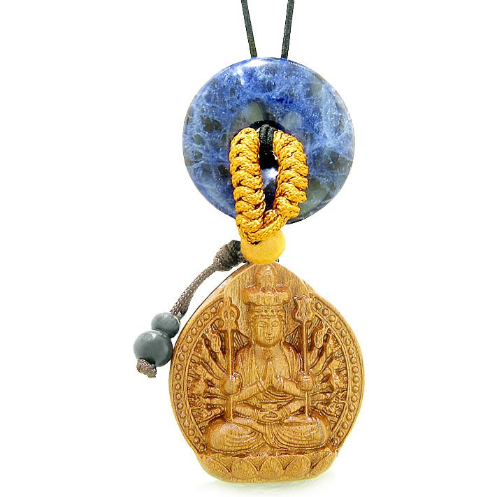 Kwan Yin Quan Fortune Car Charm or Home Decor Sodalite Lucky Coin Donut Protection Powers Amulet