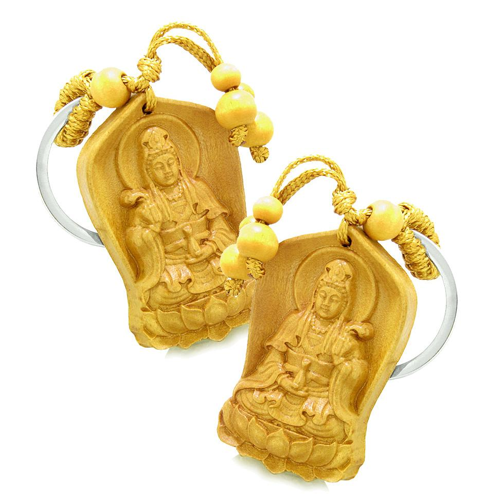 Amulet Praying Kwan Yin Quan Blooming Lotus Magic Powers Charms Feng Shui Keychain Set Blessings