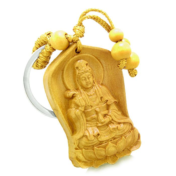 Amulet Praying Kwan Yin Quan Blooming Lotus Magic Powers Charms Feng Shui Keychain Blessing