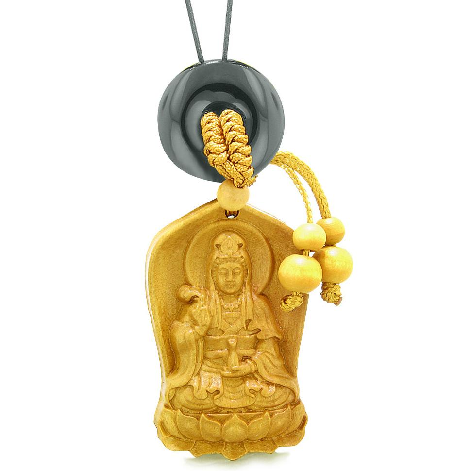 Praying Kwan Yin Quan Lotus Car Charm Home Decor Black Agate Lucky Coin Donut Protection Amulet
