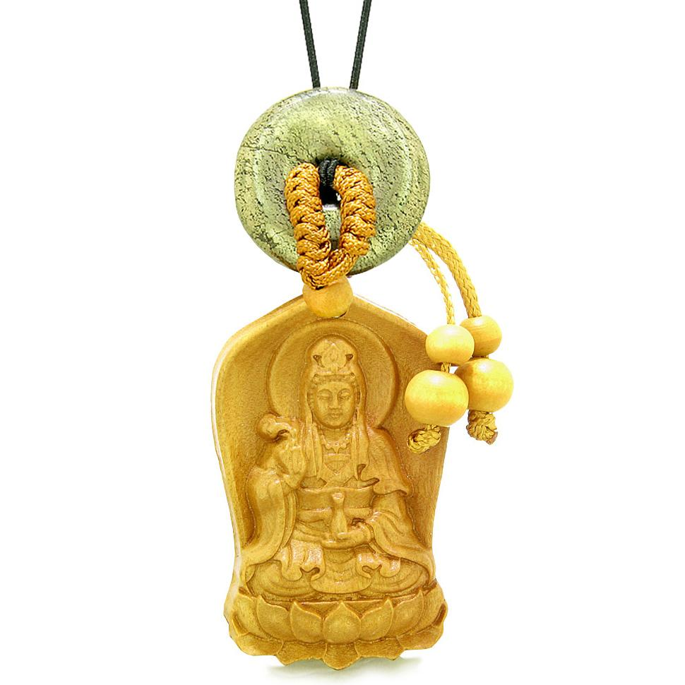 Praying Kwan Yin Quan Lotus Car Charm Home Decor Golden Pyrite IrLucky Coin Donut Protection Amulet