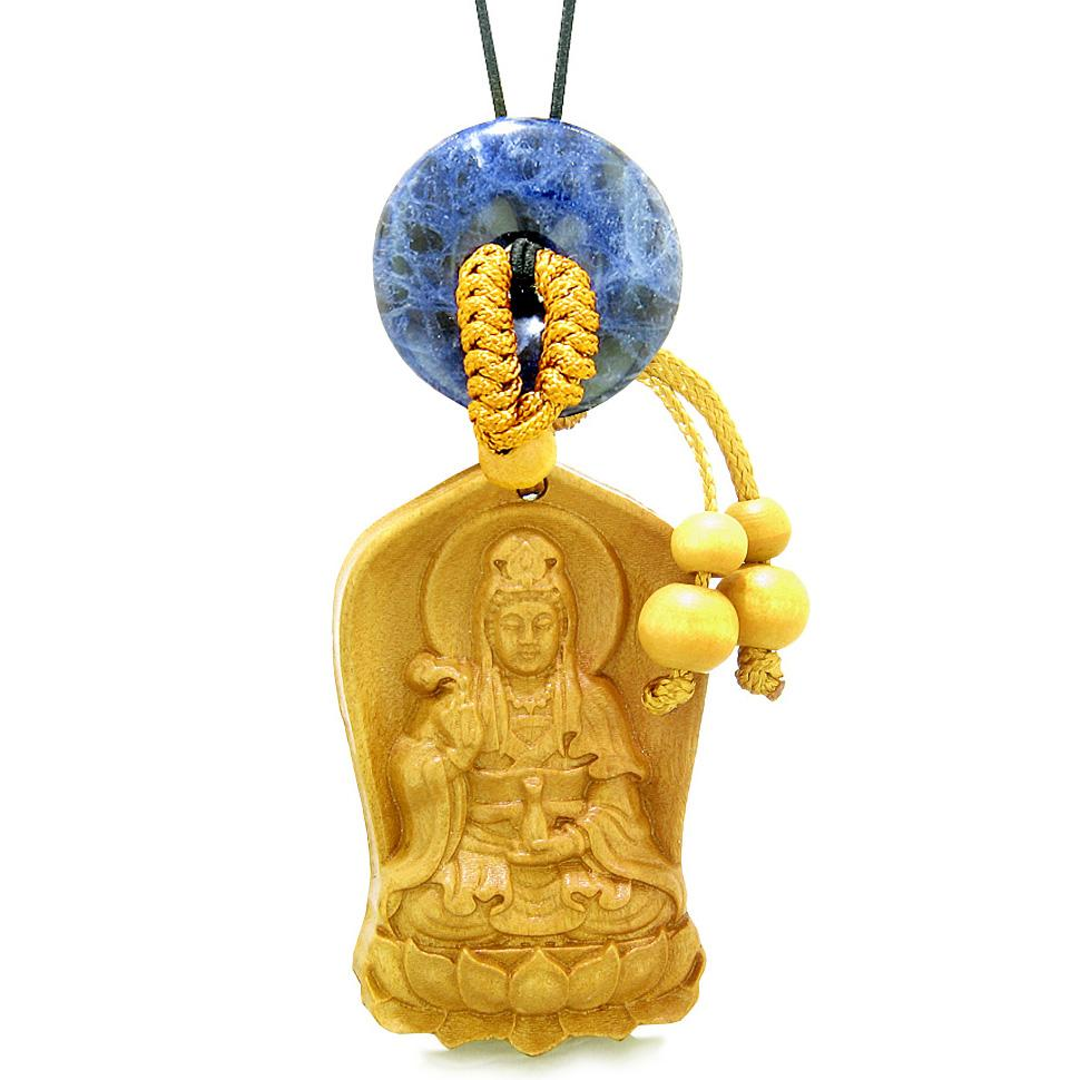 Praying Kwan Yin Quan Lotus Car Charm Home Decor Sodalite Lucky Coin Donut Protection Powers Amulet