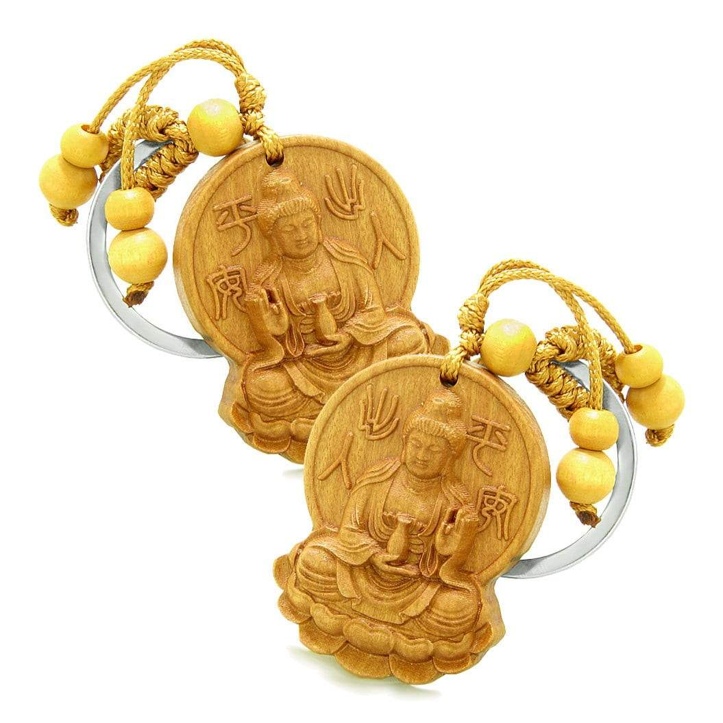 Amulet Blooming Lotus Kwan Yin Quan Magical Powers Charms Feng Shui Symbols Keychain Set Blessings
