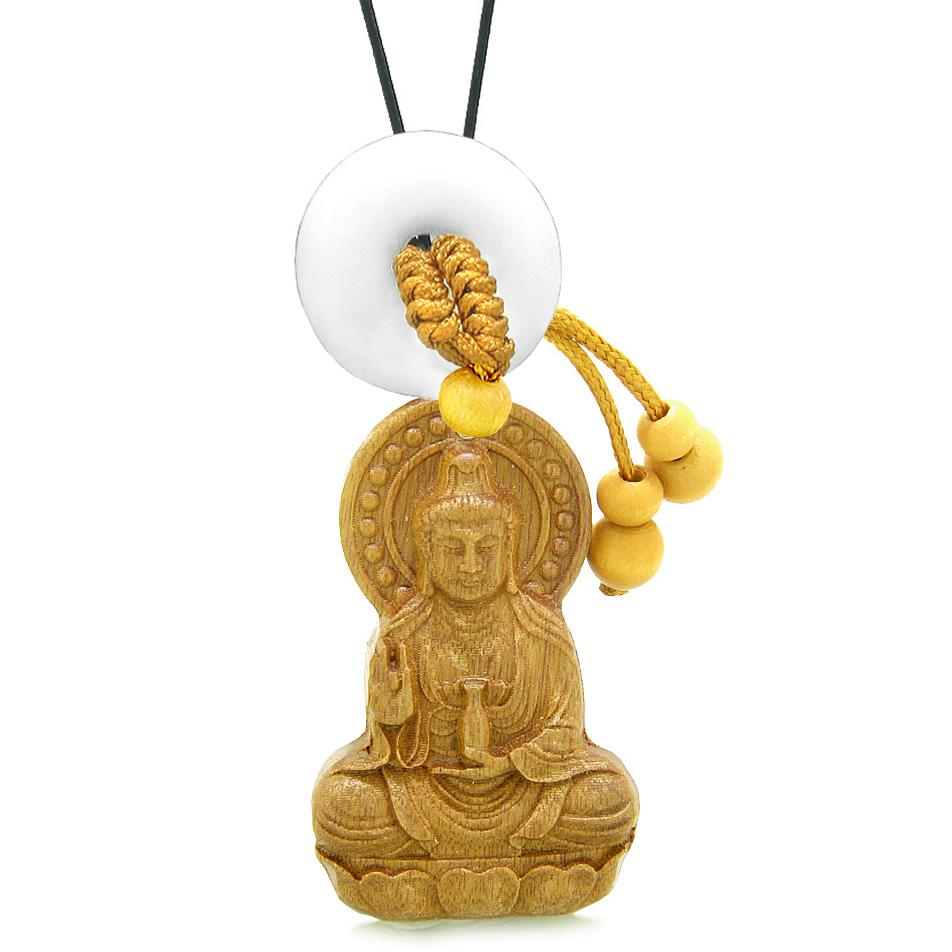 Kwan Yin Quan Magic Lotus Car Charm Home Decor White Quartz Lucky Coin Donut Protection Amulet